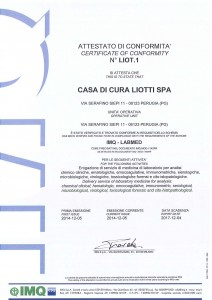 attestato IMQ LABMED ISO 15189